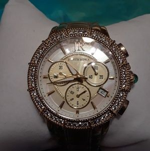 Judith Ripka gold chronograph watch.